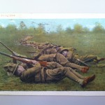 A postcard showing soldiers drilling in the field (CRHC)
